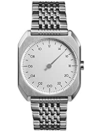 slow Mo 01 - All Silver Steel Dial Unisex Quartz Watch with Silver Dial Analogue Display and Silver Stainless Steel Bracelet