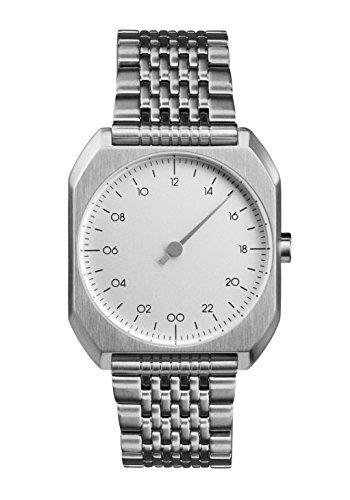 slow Mo 01 – alle Silber Stahl Zifferblatt Unisex Quarzuhr mit Silber Zifferblatt Analog-Anzeige und Silber Edelstahl Armband