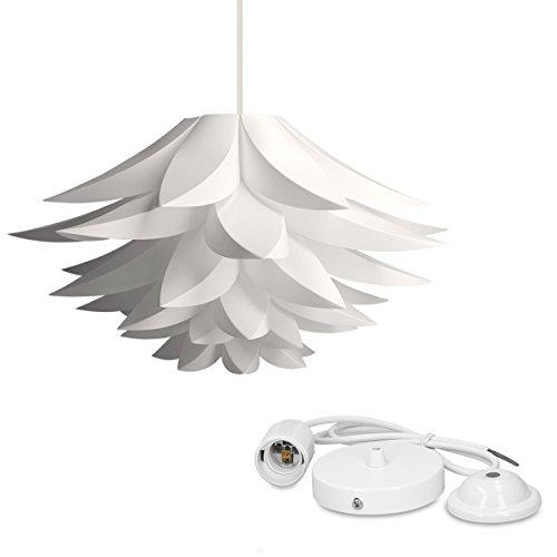 kwmobile DIY Puzzle Lampe Lampenschirm - Lotus Schirm Set mit Deckenbefestigung 90cm Kabel E27 Fassung - Puzzlelampe Deckenleuchte in Weiß