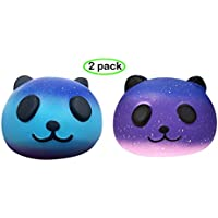 Squishy Cartoon Panda Cream Scented Bread Squeeze Stress Relief Toy Gift for Kids Adults, Super Soft & Low Rising--Set of 2