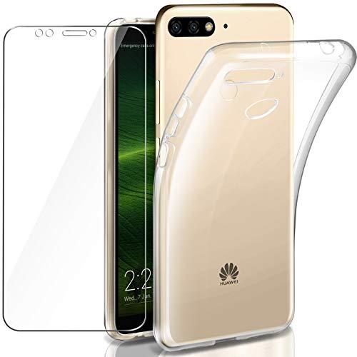 AROYI Huawei Honor 7C/ Y7 2018 Hülle + Panzerglas, Y7 2018 Durchsichtig Case Transparent Silikon TPU Schutzhülle Premium 9H Gehärtetes Glas für Huawei Honor 7C/ Y7 2018