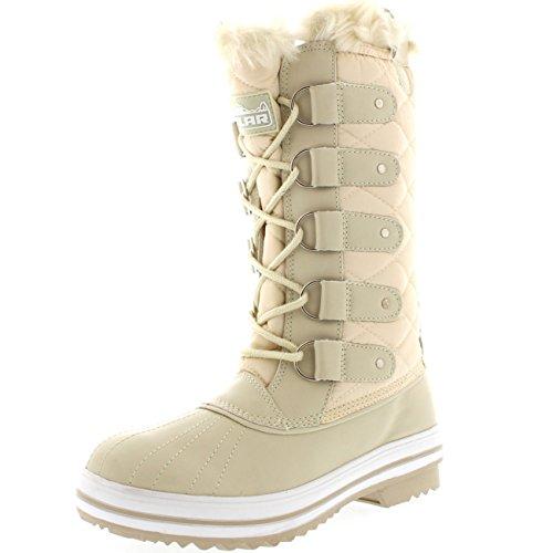 Femmes Matelassé Pluie Lacer Fourrure Chaleureux Chaussures Neige Botte Beige Nylon