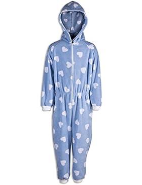 Pijama de una pieza para niña - Estampado de corazones blancos - Azul