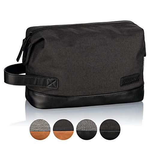 TRAVELSEVEN Premium Kulturtasche und Waschtasche für Frau und Mann, Schwarz-Schwarz, Kosmetiktasche für Reisen, robust, wasserabweisend
