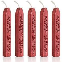 Tenflyer 5er-Pack Stück Bunte Kerze Quadratisch Siegellack Stick mit Docht(weinrot)