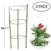 Anzmtos 3 Pack 45cm/17.7in Garden Plant Support Ring Large Size Garden&Outdoors Poeny Flower stainless Steel Support Climbing Vegtables&Flowers&Fruit Grow Cage Trellis with 3 Adjustable Rings (3PCS)