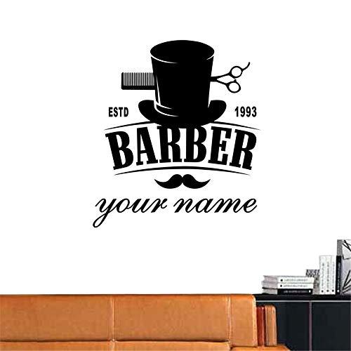 Crjzty Man Barber Shop Aufkleber Estd Customized Name Brot Aufkleber Haarschnitt Rasierer Poster Vinyl Wandkunst Aufkleber Dekor Schwarz 58x73 cm