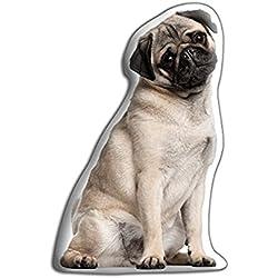 Adorable cojines satén de poliéster en forma de perro carlino