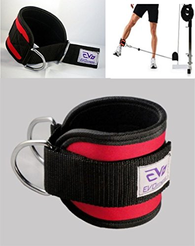 EVO Neopren Fußgelenkmanschette Seilzug Befestigung Fitness Gurt gewichtheben D Ring Bodybuilding