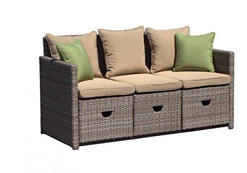 Dreams4Home Gartenbank 'Mike' - Bank, Sitzbank, Gartenmöbel, cappuccino, aufklappbarer Mitteltisch, Tisch, inklusive Kissen, ausziehbare Fußstützen, hochwertiges HDPE Geflecht,...
