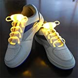 Suncentech Cordones de Zapatos Luminosos 2 Pares Ajustable LED Cordones de Zapatos, Novedad Fiestas Decoración de Disfraces (Amarillo)