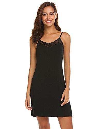 Meaneor_Fashion_Origin Damen Nachthemd Kurz Spaghettiträger Negligee Spitze Nachthemd V-Ausschnitt Nachtkleid Sexy Nachtwäsche Sleepwear (L(EU 40-44), Schwarz)