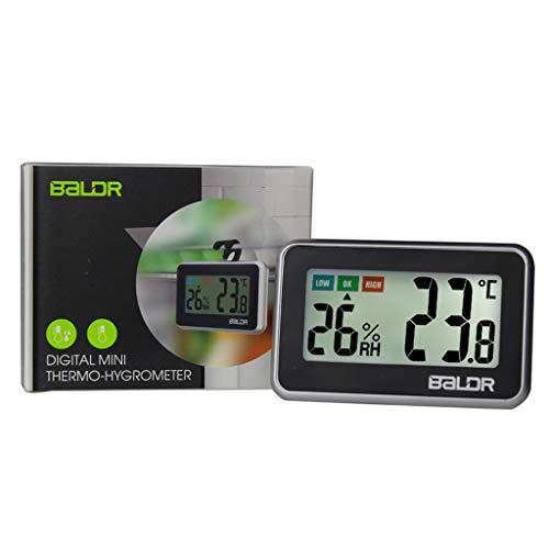 William-Lee Mini-Thermometer/Hygrometer für den Innenbereich, digital, LCD-Anzeige, mit Komfortanzeige, Temperatur und Luftfeuchtigkeit Schwarz