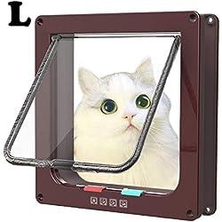 Sailnovo Puertas Para Gato 4-Modo Puerta Magnética Bloqueable de Aleta para Gato Gatito Perro Perrito Mascota Seguridad