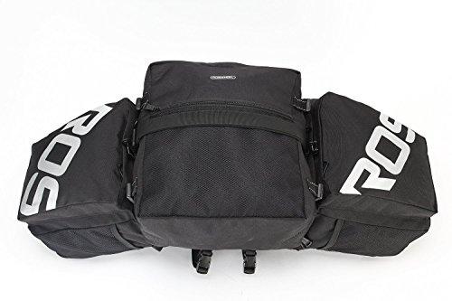 Roswheel Cycling Bike 3 in 1 Water-resistant Pannier Bag Rear Pack Shoulder Bag Black