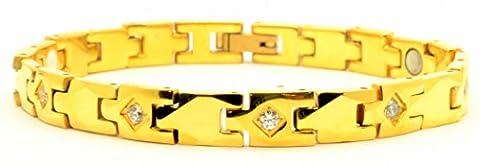 Titan Damen Schmerzlinderung Magnettherapie Gold Armband, auch Germanium und Far Infrarot fügt