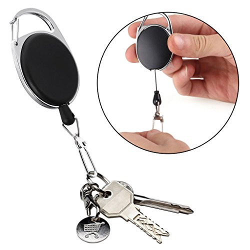 Yanhonin Rétractable Robuste Rétractable Porte-clés Rétractable Badges Reel Clip avec 60cm en Acier Câble
