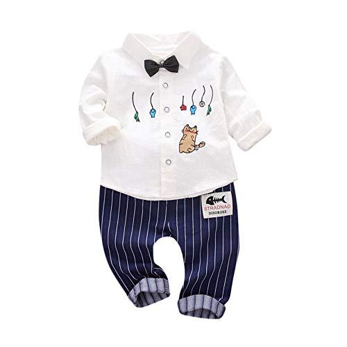 feiXIANG Baby Kleinkind Hemd Hosen 2 Stücke Kleidung Set Katze Tops Streifen Drucken Junge Freizeitkleidung (Weiß,18 Monate=L) (Converse Baby-kleidung)