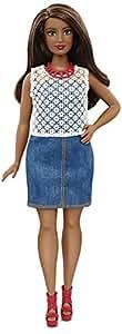 Mattel Barbie DPX68 - Modepuppe, Fashionista im Denim Kleid, bunt