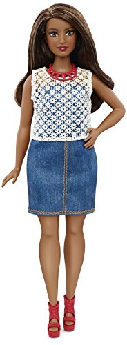 Mattel Barbie DPX68 - Modepuppe, Fashionista im Denim Kleid, bunt - Barbie-puppen Ethnische