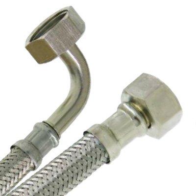 - Flexibles sanitaire - Flexible sanitaire Inox Ø intérieur 13mm - coude Femelle 1/2' (15/21) - Femelle écrou libre 1/2' (15/21) - longueur 1,50 mè