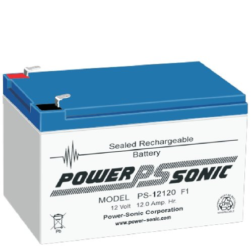 Bleiakku - Akku Powersonic PS 12120 - Powersonic PS12120 - Powersonic PS-12120 mit VdS Zulassung - 12V 12,0Ah - Rechargeable Sealed Lead Acid (SLA) Battery - AGM / Blei Vlies Sealed Lead Acid-agm