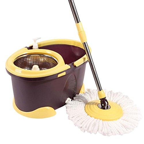 UFFD Classic Mop und Eimer Set Super Spin Dry Mop Eimer & Wringer 360 Grad Spin Edelstahl Dual Drive Home Reiniger mit 1 Mikrofaser Mop Heads,Brown (Brown Fliesen Marmor)