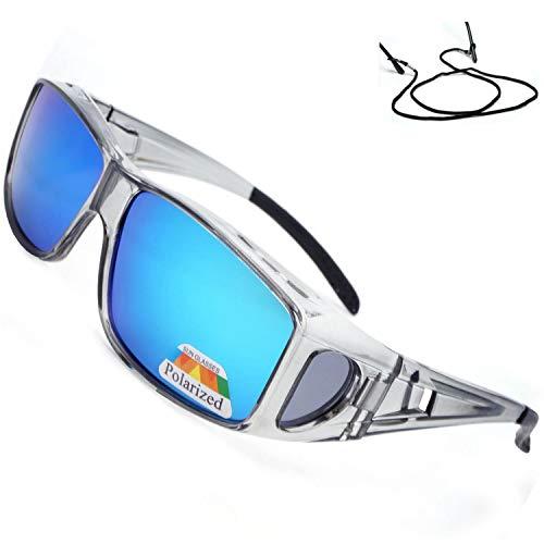 SHEEN KELLY Mit Seitenscheibe treibende Linse Wrap Schutzglas Polarisiert Brille Überbrille für Brillenträger Fit-over rechteckige Passform über Gläser Sonnenbrille
