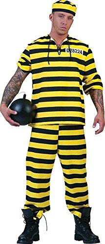 Und Gelb Schwarz Kostüm - Seiler24 Cooles Sträfling Kostüm, Herren Gr. 48-50 Schwarz/Gelb