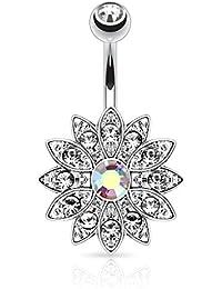 KULTPIERCING piercing pendentif de nombril avec hélice motif fleur de cristal