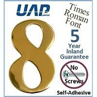 UAP - Número 8 autoadhesivo de latón pulido para la puerta, fuente Times Roman, 76,2 mm, color dorado