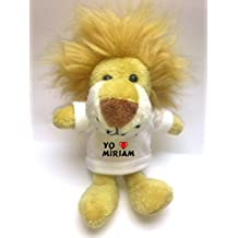 León de peluche (llavero) con Amo Míriam en la camiseta (nombre de pila/apellido/apodo)