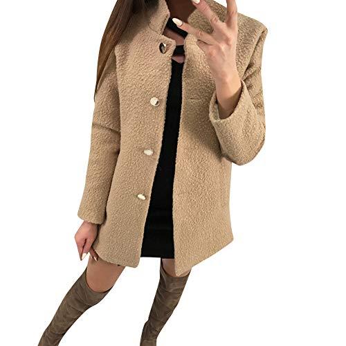 Toasye Frauen Winter Langarm Stehkragen Top Bluse, Damen Casual Flauschige Einfarbig Mantel Jacke