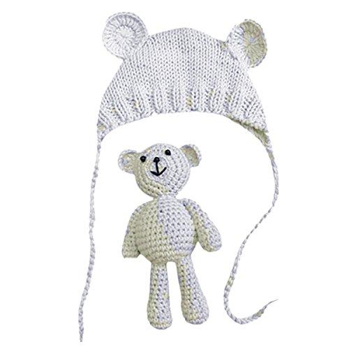 Neugeborene Fotoshooting Kostüm Baby Häkel Hut Mütze mit Bär (Weiss, 0-6 Monate)