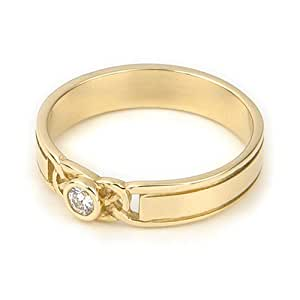 Ortak Jewellery Celtic Collection 9ct Yellow Gold DR 023 Diamond Women's Engagement Ring - Size J