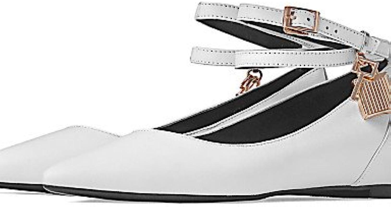 shangy idamen Guantes – Bailarinas – LÄSSIG – Piel – Plano tacón – Comodidad/puntiaguda zapato – Negro/Blanco