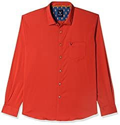 Allen Solly Mens Solid Slim Fit Casual Shirt (AMSF318G00196640_Red)