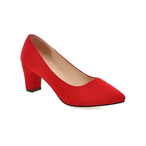 AllhqFashion Femme Pointu à Talon Correct Dépolissement Couleur Unie Tire Chaussures Légeres Rouge