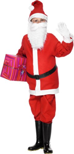 Tragen Stiefel Halloween Kostüm (Smiffys, Kinder Jungen Weihnachtsmann Kostüm, Jacke, Hose, Mütze und Gürtel, Größe: S,)