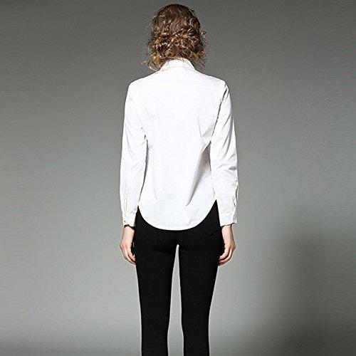 À Manches Longues Brodé Femmes En Imprimé Sommets De Broderie Chemise Slim Fit Chemisier Occasionnel Blanc