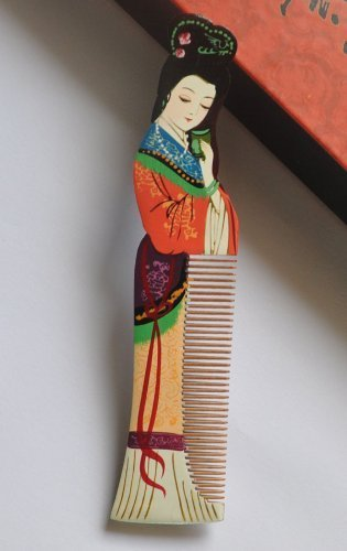 wood-comb-beautiful-fashion-stylish-multi-color-beauty-name-gui-fei-hand-craft-master-hand-painted-b