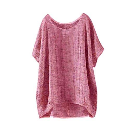 BHYDRY Womens Fledermaus Kurzarm beiläufige lose Top Dünnschnitt Bluse T-Shirt Pullover(Rot,XXL)