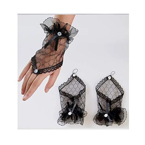 Junjiagao 1 para Mesh Handschuhe Fingerlose Kurze Handschuhe Spitze Mesh Handschuhe für Frauen Braut Hochzeit Handschuhe Party Phantasie Kostüme (Color : Black)