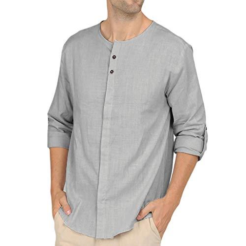 Andouy Herren Mode Leinen Schnelltrocknend Hemd Casual Langarmshirt Einfarbig Button Down Shirts O-Kragen Tops(L.Grau) -