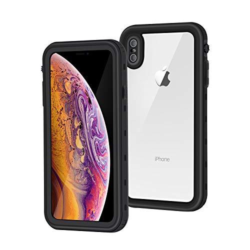 Meritcase iPhone XS Max Hülle, Handyhülle 6.5 Zoll IP68 Wasserdicht Stoßfest Staubdicht Schneefest Ultradünn Leicht Outdoor Unterwassergehäuse Full Body Schutzhülle für iPhone XS Max (Schwarz)