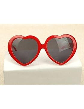 yeah67886Fashion Lady gris hoja forma de corazón gafas de sol gafas (rojo)