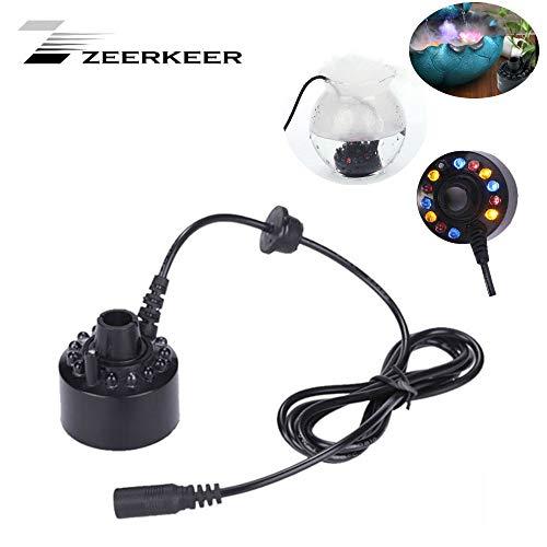 ZEERKEER 12 LED Ultraschall Nebler Hersteller LED Nebel Nebelmaschine Zerstäuber Diffuser Mist Maker Geeignet für Innen- oder Außenbrunnen, Mini-Wasserspiele und Büroanwendungen