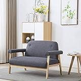 Festnight Canapé à 2 Places Tissu Gris foncé Canapés de Salon Scandinaves Design 115 x 69 x 75 cm...