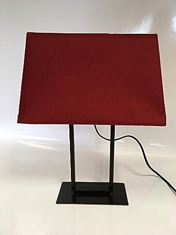Lampe 43cm Füße Rechteck schwarz mit Lampenschirm rot (Rechteck Lampenschirme)