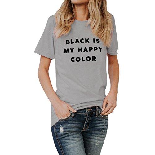 VEMOW Heißer Verkauf Sommer Frauen Mädchen Schwarz IST Meine GLÜCKLICHE Farbe Brief Tees Hemd Kühlen T-Shirt Bluse Tops (EU-44/CN-L, Grau)